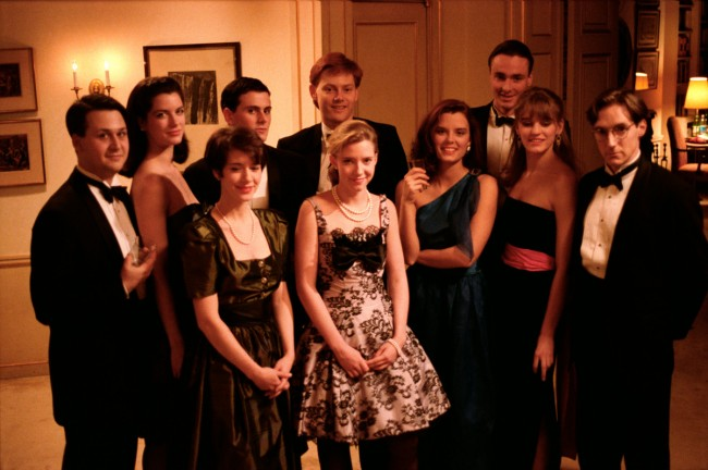 Bryan Leder, Allison Rutledge-Parisi, Chris Eigeman, Edward Clements, Will Kempe, Carolyn Farina, Dylan Hundley, Ellia Thompson, Isabel Gillies, and Taylor Nichols in Whit Stillman's METROPOLITAN (1990). Courtesy: Rialto Pictures