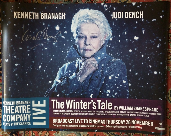Win this poster for THE WINTER'S TALE signed by Kenneth Branagh. Background persian rug not included =)