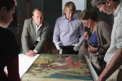 Middle left: Matthijs Ilsink, art historian. Middle Right: Luuk Hoogstede, conservator Saint Christopher, 1490 – 1505 Rotterdam - Museum Boijmans Van Beuningen