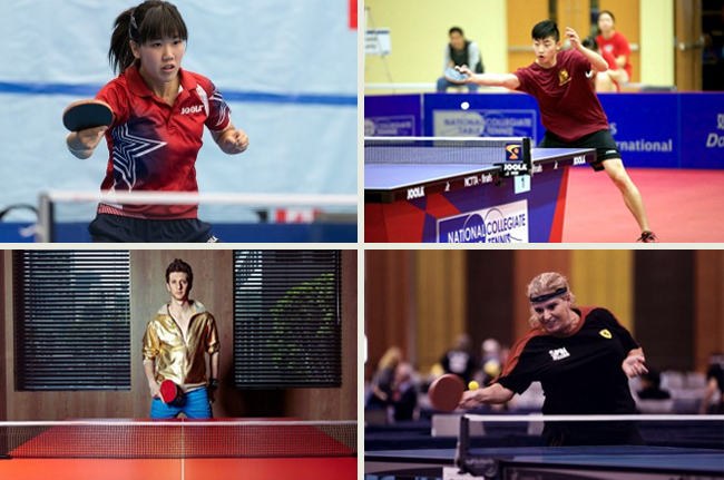 Clockwise, from top-left: Erica Wu, 2012 U.S. Olympian; Grant Li, 2015 U.S. National Team Member; Adam Bobrow, Professional Ping Pong Player and Actor; Kim Gilbert, Professional Ping Pong Player